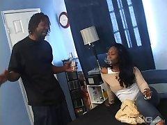 Black dude with a massive cock enjoys fucking his ebony GF Dreamboat Dior