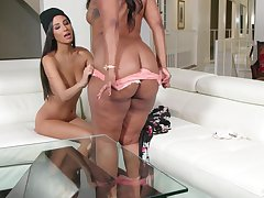 Interracial lesbian sex put paid to ebony Chanell added to Latina Gianna Dior