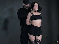 Bearded perv punishes crucified and suspended whore Maria Jade