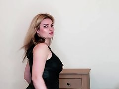 Burly blonde femdom strapon curse at