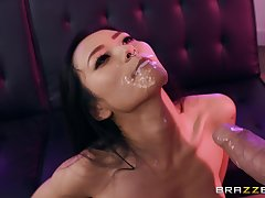 Asian beauty ends with facial after passionate steadfast sex