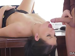 Insolent dame gagged and made to swallow during a hot fuck at work