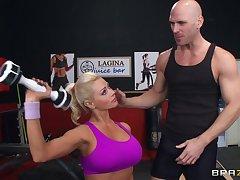 Fit blonde MILF Nikita Von James moans with pleasure during sex