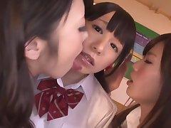 Charming Sexy Jap Lesbians Swap Fluids