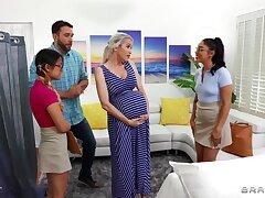 Midwives help pregnant lady w simmering boyfriend!