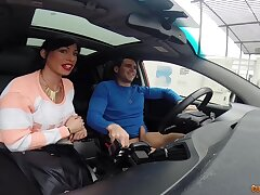 Spanish hooker gives a blowjob in a car plus rides hard cock indoor