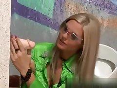 Glamorous wam girl discovers gloryhole cock