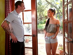 Attractive Asian masseuse Jade Kush treats dude with massage plus marketable whirl