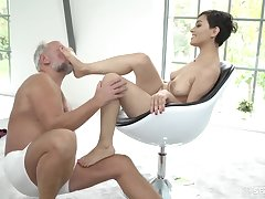 Lickerish young Euro whore sucks grandpa cock