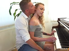Nice pianist Angel Emily is making love with her teacher for the first time