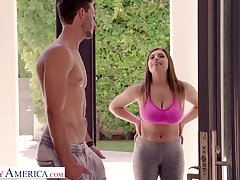 Bosomy chick with obese ass Ella Knox gives a titjob and blowjob to her neighbor