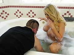 After curious titjob big breasted Katie Morgan is fucked in sideways pose