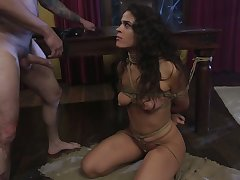 Real bondage hooker Victoria Voxxx has to take strong cock into indiscretion