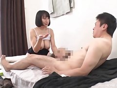 Japanese mom gives head with an increment of rides hard