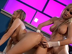Peaches MILFs Anita Dark and Angie Savage playing with sex toys