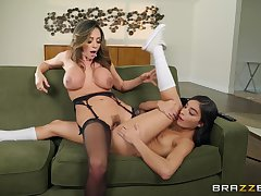 Strapon anal with beautiful lesbians Ariella Ferrera and Emily Willis