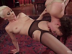 Rough lesbian play via naughty scissoring