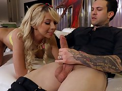 Young blonde Kenzie Reeves is fucked by several married couple and fed with cum donut