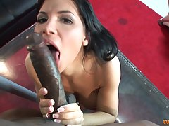 Interracial sex between a big gloomy cock with the addition of a mature slut