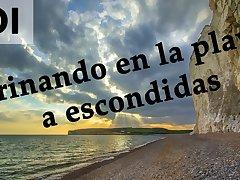 Spanish JOI - Pillados meando escondidos en la playa.