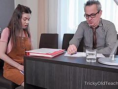 Tricky elderly teacher enjoys fucking pretty coed Tina Grey and cums in their way indiscretion