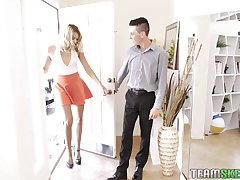 Slender and tall light-complexioned Chanel Grey is fucked by two horny guys